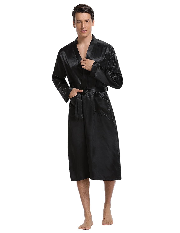 Aibrou Men s Satin Robe Long Bathrobe Lightweight Sleepwear at Amazon Men s  Clothing store  9372e4692
