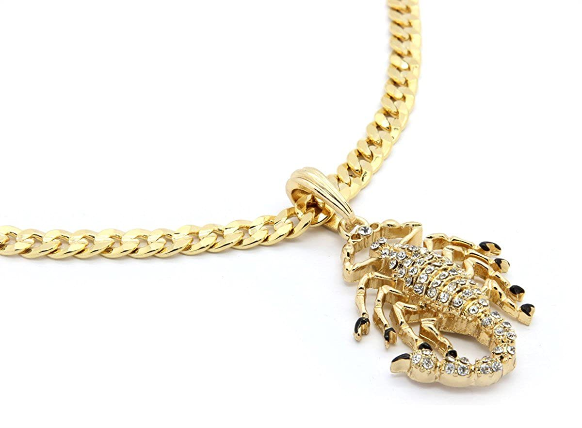 Firewings 14k Gold Plated Mens Scorpion King Cz Pendant Hip-Hop Cuban Chain