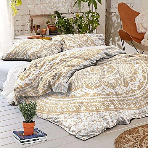 Gold Color Indian Ombre Bohemian Mandala Duvet Cover Bedding