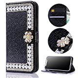 Stysen Galaxy S7 Wallet Case,Galaxy S7 Glitter Flip Case,3D DIY Handmade Shiny Bling Sparkle Diamond Rhinestone Pearl Pattern Black Pu Leather Soft Inner Folio Magnetic Closure Bookstyle Card Slots Pouch with Strass Flower Buckle and Stand Function Luxury Fashinable Elegant Protective Wallet Case Cover for Samsung Galaxy S7-Flower,Black