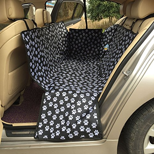 HAOCOO Pet Seat Cover Waterproof and Washable for Cars, SUV, Vans & Trucks (Black-Paw Prints ) (Paw Car Mats compare prices)