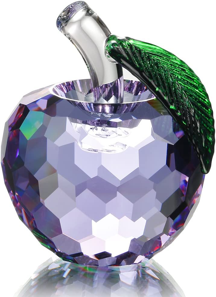 H&D 60mm Crystal Apple Paperweight Art Glass Apple Collectible Figurines,Christmas Eve Gift (Purple)