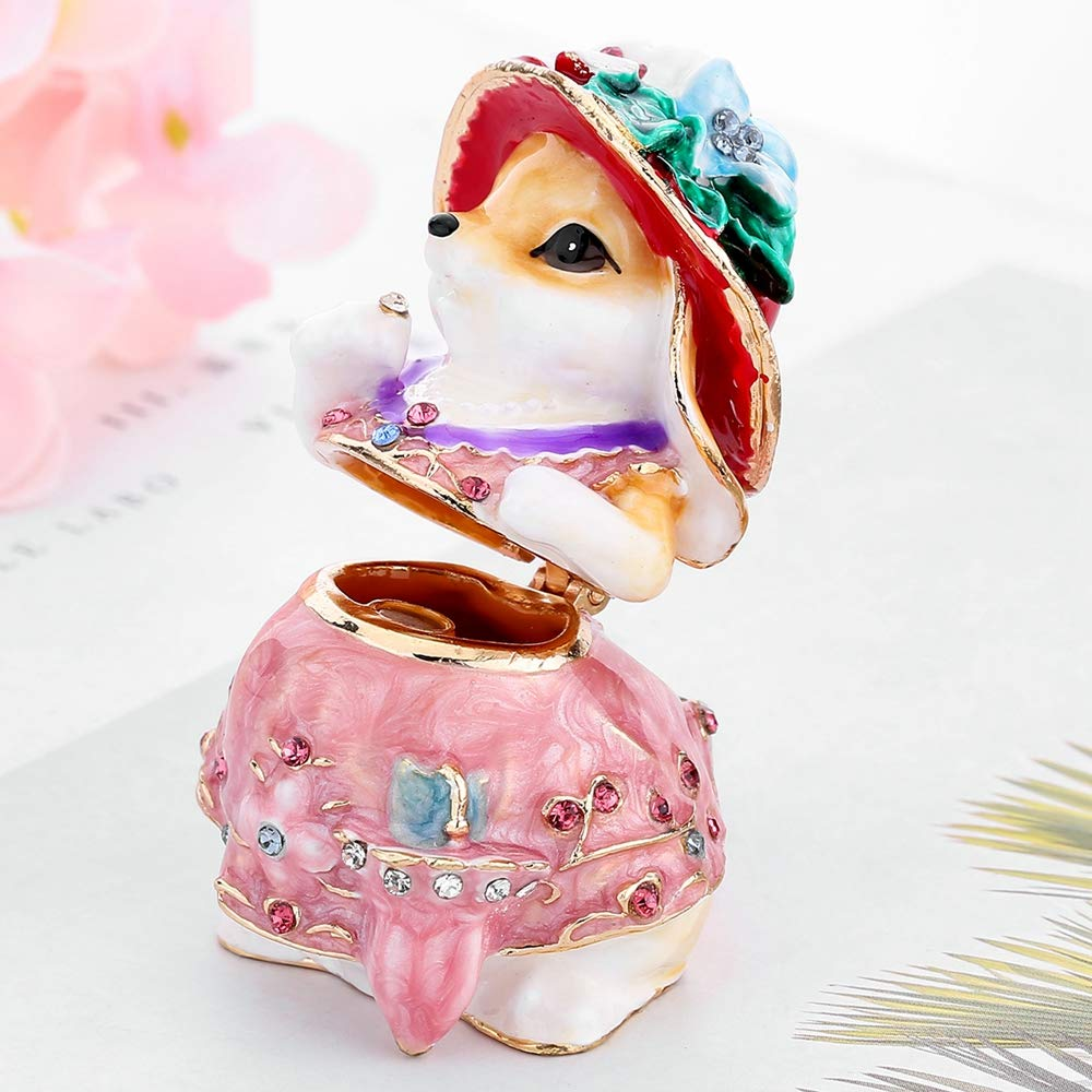 Easter Day Gifts for Her for Him Birthday Gifts for Women Fine Pewter Boxes Jeweled Rabbit Trinket Small Box with Crystal Rabbit Decor Jewelry Holder Organizer Trinket Boxes Hinged