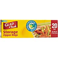Glad Storage Zipper Bags Gallon - 20 Count