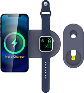 Delidigi 2 in 1 Charging Stand for iPhone 12 and Apple Watch, Slim MagSafe Charger Holder Dock Compatible with iPhone 12/Pro/Max/Mini and Apple Watch SE/6/5/4/3(Midnight Blue)