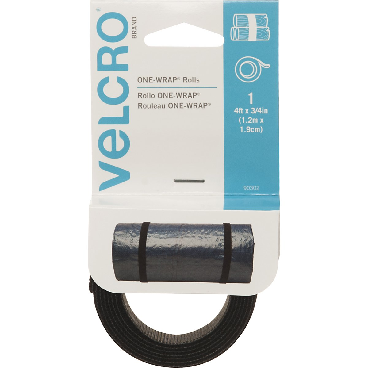 Velcro(r) Brand Fasteners One-Wrap Straps 3/4-InchX4-Inch, Black Notions - In Network 90302