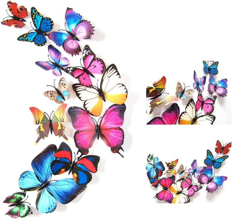 12 Pcs Colorful Butterfly 3D Wall Stickers DIY Art Decor Crafts Room Decoration (Multicolour)