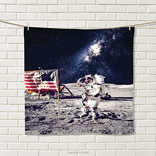 smallbeefly Outer Space Hand Towel American Spaceman on The Moon Future Solar Discovery in Deep Technology View Quick-Dry Towels Blue Grey Size: W 20'' x L 21'' by smallbeefly
