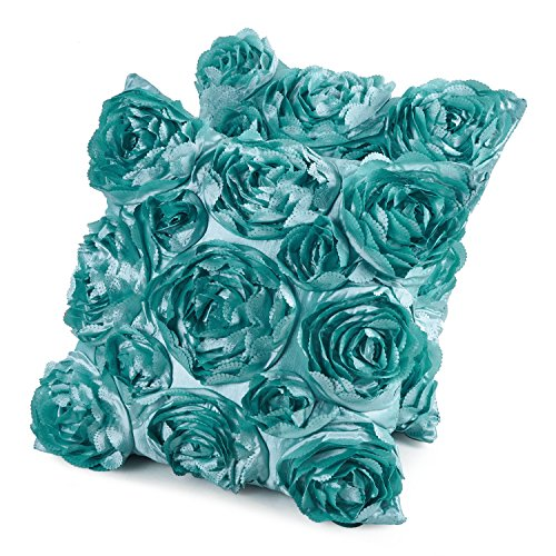 Ruffled Accent (Romantic Ruffled Rose Embroidered Satin Throw Pillow Cushion Case 16x16 Inch 2-Piece Light Green)