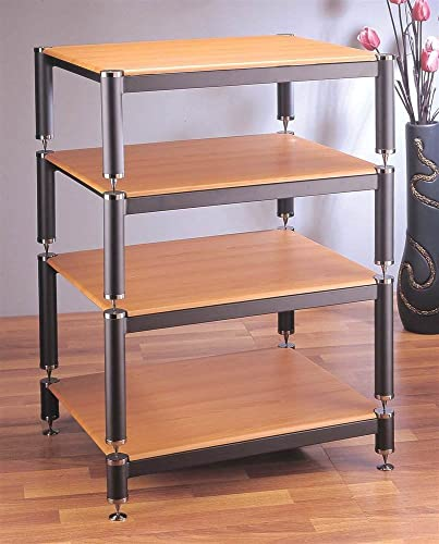 VTI BL Series Modular Rack Shelves Oak, Poles Caps Black Poles Silver Caps