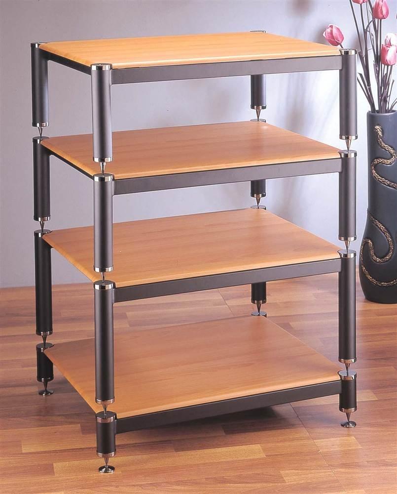 Silver w Oak Shelf BL Series Stackable Audio Video Rack