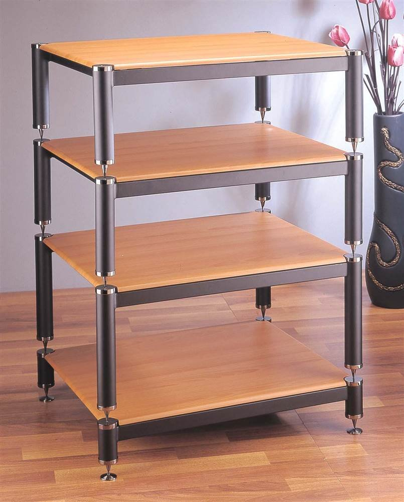 BL Series Stackable Audio Video Rack (Gold w Cherry Shelf) by VTI