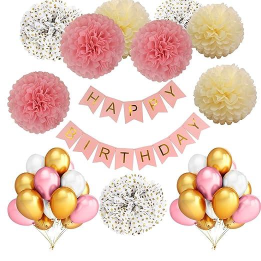 Decoración de Cumpleaños Rosa Oro Blanco Niñas:36 Piezas de Globos de Látex Naturales,9 Pompones de Papel de Seda,1Set Banner de Feliz Cumpleaños Para ...