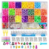 NEFUTRY Rainbow Loom Kit-4800 Rubber Loom Bands, 22 Colors, 1 Loom, 2 Y Shape loom, 1 Big Hook, 6 Small Hook, 8 Packs S-Clips, 10 Silicon Charms, 10 Lovely Charms
