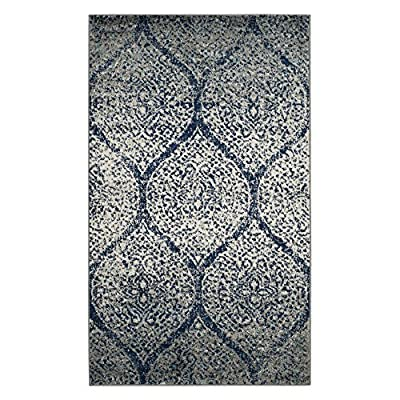 Safavieh Madison Collection MAD604G Navy and Silver Area Rug