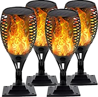 Solar Post Cap Lights Flame Torch Lights Outdoor Deck Lighting Adaptor for 4x4 5x5 6x6 3.5x3.5 Fence Post Light Dancing Flickering Flames LED Lamp Waterproof Caps Lantern for Yard Porch Patio 4 Pack