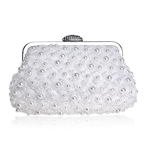CIFFOST Sac De Soirée Perle, Sac À Bandoulière Sac À Main D'embrayage Pour Les Femmes, Sac En Strass Cristal (blanc pâle)