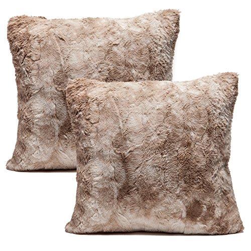 chanasya super soft fuzzy faux fur cozy warm fluffy beige fur throw pillow cover pillow sham beige brown pillow sham 18x18 insert not