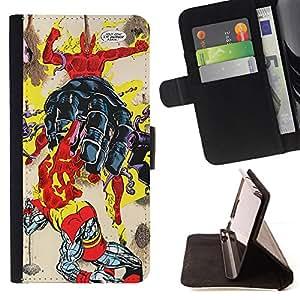 GIFT CHOICE / Billetera de cuero Estuche protector Cáscara Funda Caja de la carpeta Cubierta Caso / Wallet Case for Apple Iphone 5 / 5S // Funny Superhero Comic Human //