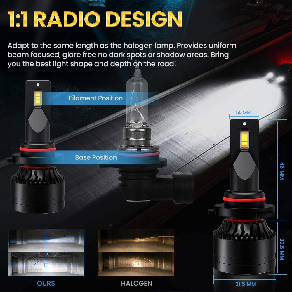 CAR ROVER 9005 H11 LED Headlight Bulbs HB3 H9 High Low Beam 20,000LM Extremely Bright 6000K CSP Chips Conversion Kit Combo Package 2 Sets