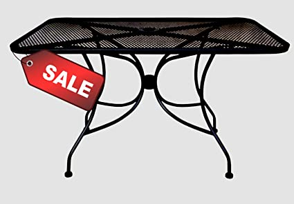Amazoncom Rectangular Patio Table Mesh Table Top Black Color