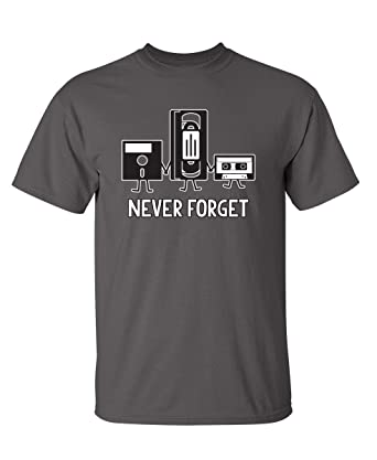 59f5e8996 Never Forget Funny Retro Music Mens Novelty Funny T Shirt S Charcoal
