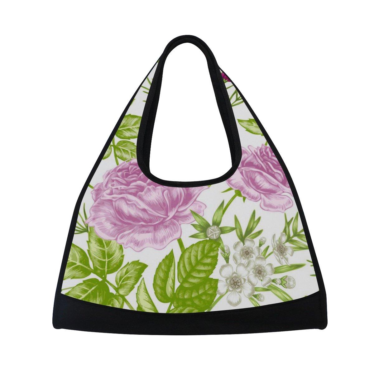 AHOMY Canvas Sports Gym Bag Flower Leaf Duffel Bag Travel Shoulder Bag