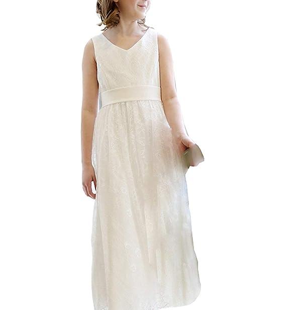 MerryGirl Vestido de niña de Flores con Cuello en V de Encaje Vestido de Fiesta de niña con Espalda de Arco: Amazon.es: Ropa y accesorios
