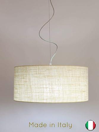 Lámpara de techo cilíndrica de 50 cm de diámetro, tejido ...