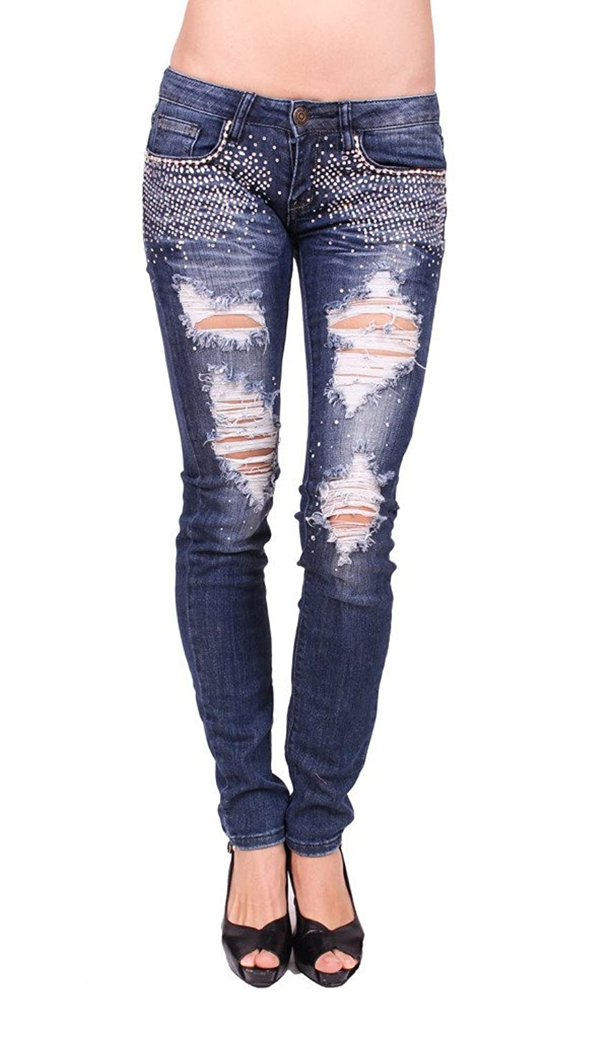 Machine Jeans Women Distressed Skinny Jeans with Rhinestones