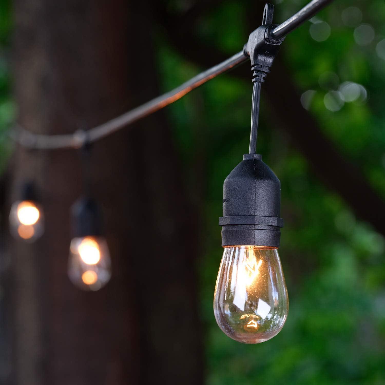 2x11m//20m Outdoor Hanging Sockets Black Cord String Festoon Lights S14 LED bulbs