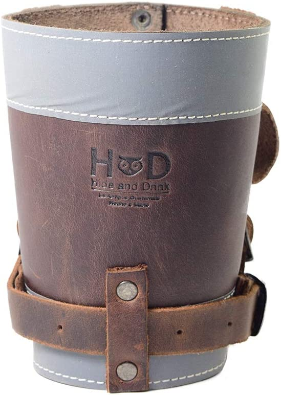 Hide & Drink, Cruzy Leather Reflective Bike Handlebar Cup Holder, Insulated Beverage Pouch for Commuters, Bikers, Cyclers, City Nomads, Urban Nomad Handmade Includes 101 Year Warranty :: Bourbon Brown
