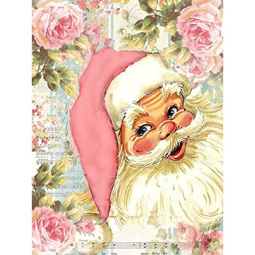 WiHome 5D Diamond Painting Kits for Adults Full Drill Santa with Pink Hat and Peonies Embroidery Rhinestone Painting