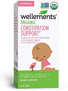 Wellements Organic Baby Constipation Support, 4 Fl Oz, Free from Dyes, Parabens, Preservatives-New