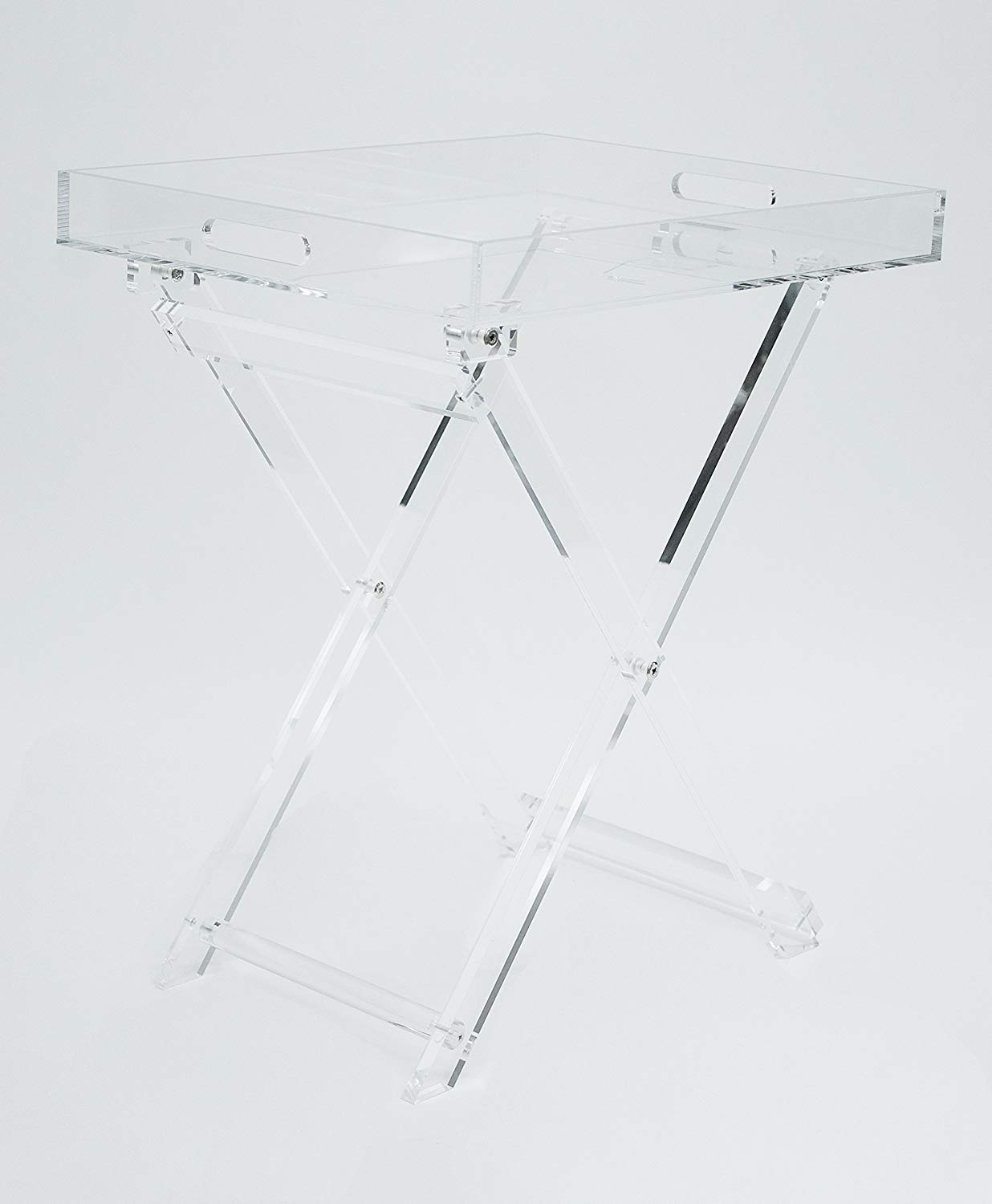Acrylic Folding Tray Table - Modern Chic Accent Desk - Kitchen and Bar Serving Table - Elegant Clear Design - by Designstyles by Designstyles