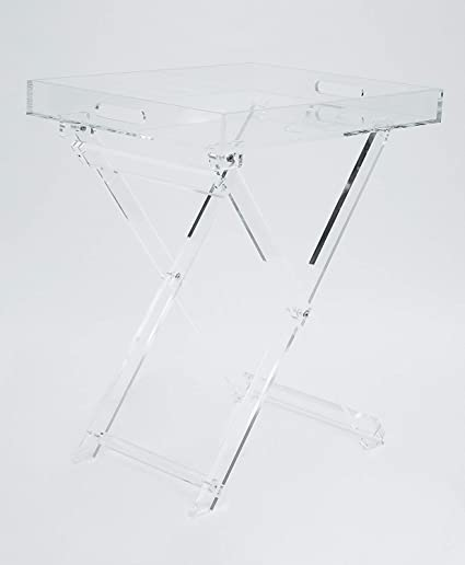 meet 06f69 66bfd Acrylic Folding Tray Table – Modern Chic Accent Desk - Kitchen and Bar  Serving Table - Elegant Clear Design - by Designstyles