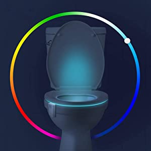 2 Pack 16-Color Motion Activated Toilet Night Light, Motion Sensor Cool Fun Gadget Led Bowl light Funny Unique Birthday Gag Gifts Idea for Dad, Him, Men, Women, Kids, Adults by Witshine