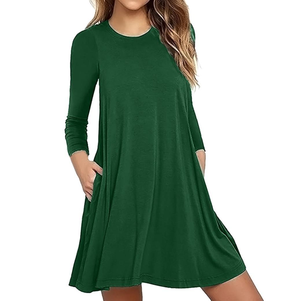 Snowfoller Simple Fashion Women Dress, Autumn Casual Long Sleeve Round Neck Pocket Loose T-Shirt Evening Party Dress Sweatshirt Dress (XL, Green)