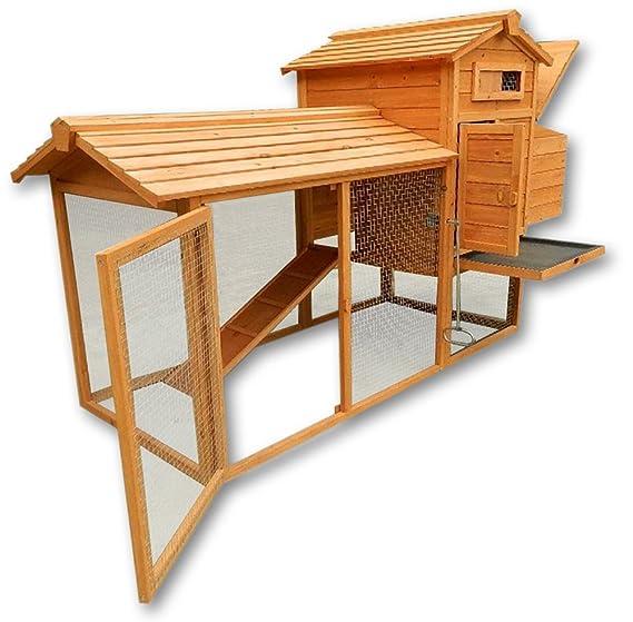 Conejera gallinero caseta conejos roedores pollos gallinas pequeños animales nidos corredor libre: Amazon.es: Jardín