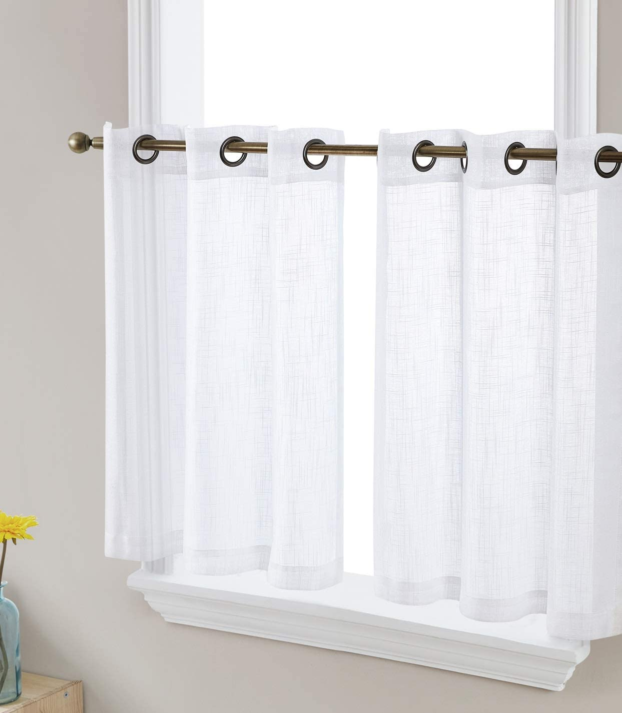 HLC.ME Abbey Faux Linen Textured Semi Sheer Privacy Light Filtering Transparent Grommet Short Thick Cafe Curtain Tiers for Small Windows, Kitchen & Bathroom, Set of 2 (35 W x 2 4 L, White)