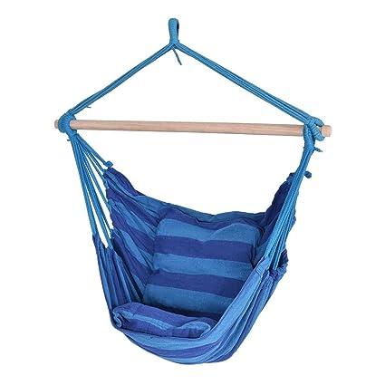 Fabric Blue Stripe Hammock Rope Swing Chair Tree Hanging W/2 Seat Cushions