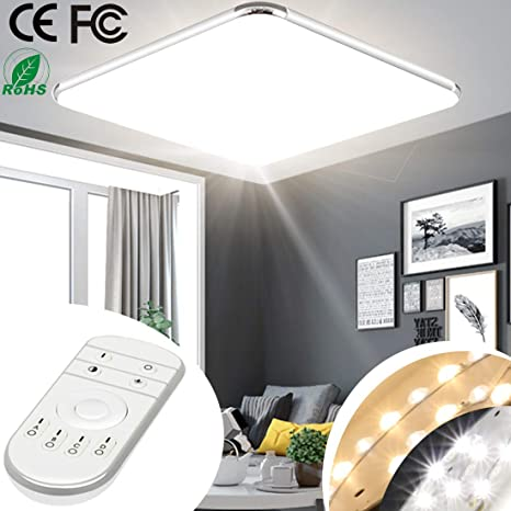 free shipping c1634 c7f9d 24W 18inch Dimmable LED Ceiling Light Fixture Flush Mount with Remote  Control 2800-6500K Lighting Kitchen Bathroom Bedroom Dining Living Room