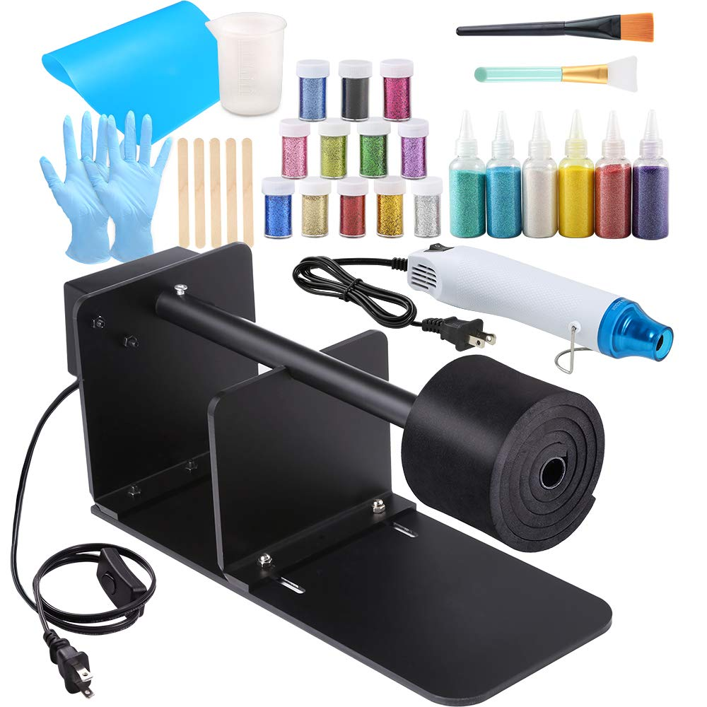 Sntieecr Epoxy Glitter Tumbler Full Kits with Tumbler Turner Machine, Bubble Buster Tool Heat Gun, 18 Pieces Glitter Powder, Silicone Mat and Silicone Epoxy Brushes for DIY Epoxy Resin Craft Tumblers by Sntieecr