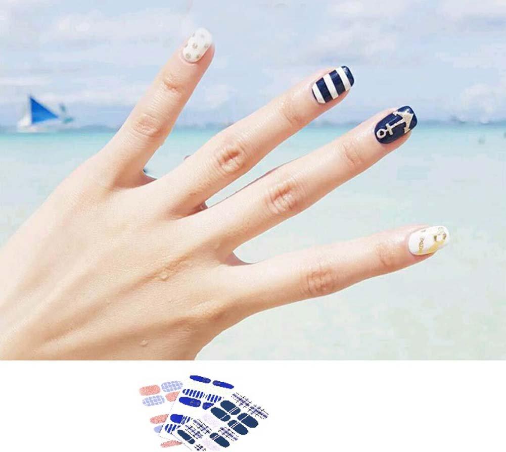 Bavs 3 Different Sheets Nail Stickers Wedding Polish nail sticker French Manicure Art 3d Women Full Marine/Sea, Green, Beige