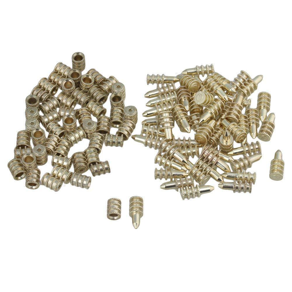 50pcs 8x20mm Gold Zinc Alloy Table Leaf Dowel Aligner Pin Sets with Sockets Table Top Leaf Alignment Pins Diystyle