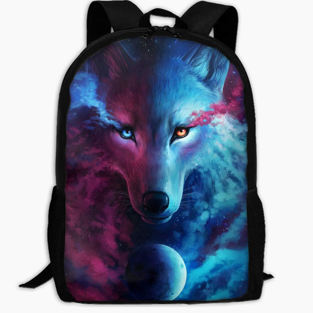 Duwamesva カジュアルバックパック - 美しい温かみと冷たい狼のプリント ジッパー スクールバッグ 旅行 デイパック ノートパソコン バックパック 女の子 男の子   B07H788WSH