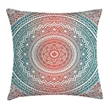Ambesonne Teal and Coral Throw Pillow Cushion Cover, Ombre Mandala Art Antique Gypsy Stylized Folk Pattern Mystical Cosmos Image, Decorative Square Accent Pillow Case, 20 X 20 inches, Teal Coral