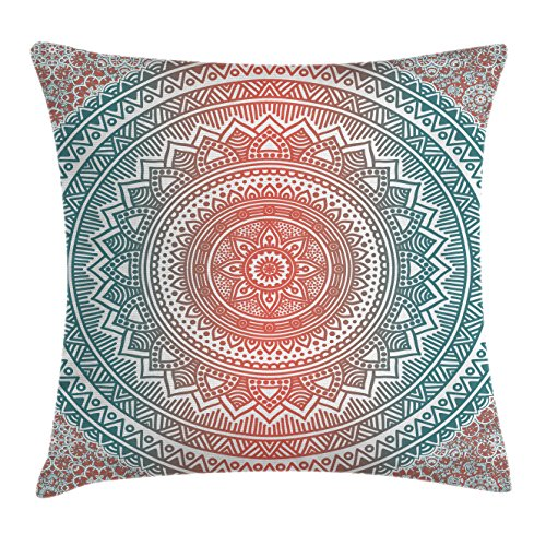 Ambesonne Teal and Coral Throw Pillow Cushion Cover, Ombre Mandala Art Antique Gypsy Stylized Folk Pattern Mystical Cosmos Image, Decorative Square Accent Pillow Case, 16 X 16 Inches, Teal Coral
