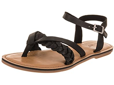 TOMS Women's Lexie Sandal Black Leather 5 ...