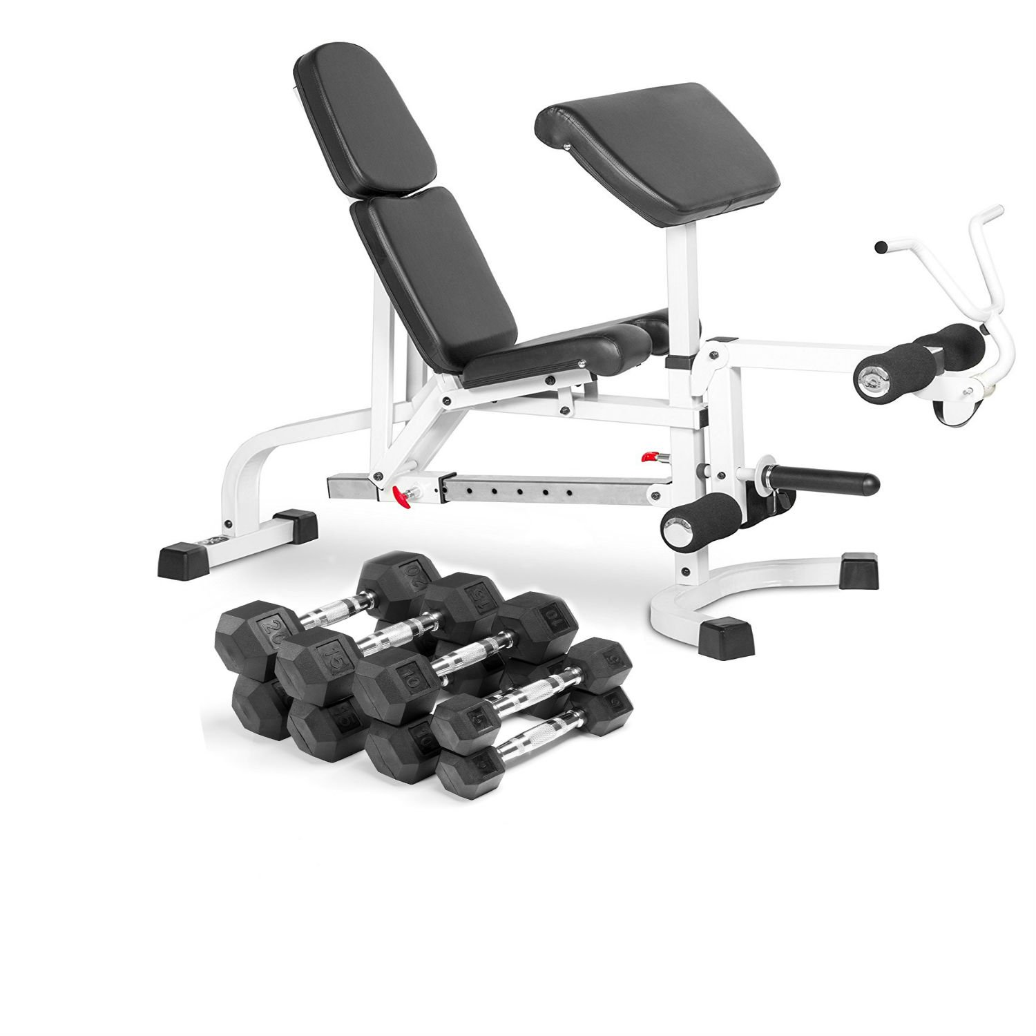 Combo Offer XMark Fitness FID Weight Bench with Leg Extension and Preacher Curl with Premium Quality, Rubber Coated Hex Dumbbells- Sold in Sets (4 Pair: 5 , 10, 15, and 20 lbs. - Total 100 lbs.)
